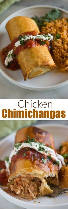 My family absolutely loves this easy Chicken Chimichangas recipe! A delicious crispy burrito served topped with sour cream, guacamole and salsa. #chimichanga #Mexican #chicken #cheese #baked #fried #easy #best #burrito