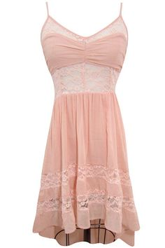 Lace-Contrast, High-Low, Boho-Dress-Pitaya