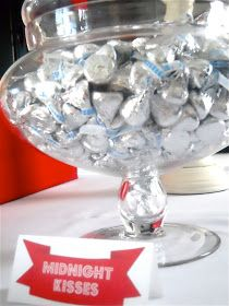 """Favor Party Ideas: What about  a bowl of Hershey kisses on each table setting as a nice jester, which could include a sign that says """"Midnight Kisses!"""