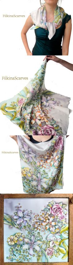 Silk Satin Scarf Hand Painted Flowers scarf by FilkinaScarves