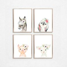Girl Nursery Decor Baby Farm Animals Print Set of 4 Nursery Farm Decor Farm Nursery Animals Bubble Gum Girl Nursery Printable Watercolor Art Baby Farm Animals, Baby Animal Nursery, Farm Nursery, Baby Girl Nursery Decor, Cow Wall Art, Cow Decor, Art Moderne, Animal Decor, Nursery Prints