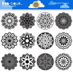 Geometric Flowers Clipart set for Instant Download includes 12 black and white rangoli graphics in various designs. •Graphics are saved