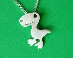 Dinosaur Necklace TRex Necklace Dino Pendant Sterling Silver Teen Necklace Kids Pendant Boy Necklace