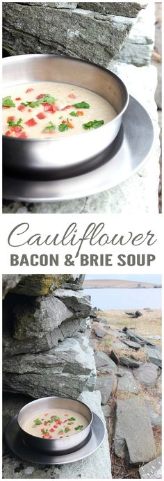 A thick, creamy and delicious cauliflower soup with bacon and brie.