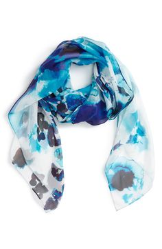 Nordstrom 'Winded Blooms' Silk Chiffon Square Scarf