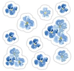 Take your journaling to a whole new level with stickers!  / Stickers can change your journaling experience for the better! / These cute little blue flowers are handpainted with watercolor paint. • Also buy this artwork on stickers.