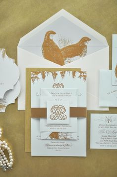 Garden and Gun Themed Wedding Invitations, Mint Paper, Gold Foil Printing, Couture Monogram with Spanish Moss and Quails lining Envelope / www.EmilyMcCarthy.com