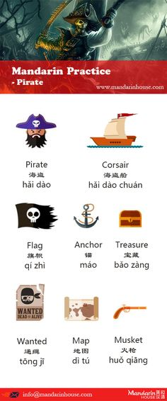 Pirate in Chinese.For more info please contact: bodi.li@mandarinhouse.cn The best Mandarin School in China.