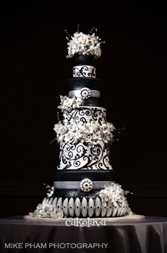 black, white and silver wedding cake with handcrafted flowers Beautiful Wedding Cakes, Gorgeous Cakes, Pretty Cakes, Amazing Cakes, Cupcakes, Cupcake Cakes, Crazy Cakes, Fancy Cakes, Black And White Wedding Cake