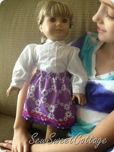 DIY American Girl doll skirt sewing tutorial...easy beginner sewing tutorial that kids can do too!!  Sew Sweet Cottage
