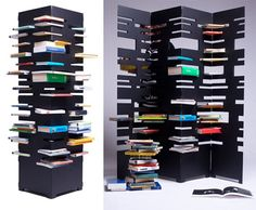 """Marica Vizzuso has designed B-OK, a space-saving alternative to the usual bookshelf. Vizzuso asks, """"Why do you place books in a conventional way when you can have both an amusing and aesthetically interesting alternative?"""" The shelving system is constructed like a giant tower, yet unfolds into a room divider."""