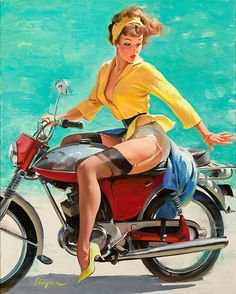 Rare Motorbike Pin-up Girl by Gil Elvgren