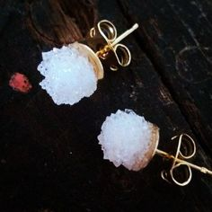 Swarovski #pnmbrandjewelry #Natural Crystal Druzy Earrings Boho Chic Wedding Raw Stone Jewelry
