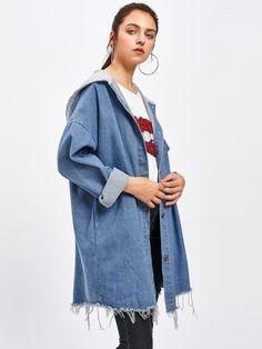 Drop Shoulder Frayed Contrast Hooded Denim Jacket