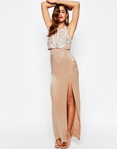 Rare london 2 in 1 sequin midi dress with scalloped hem lace