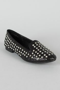 Bamboo Bounty-01 Glitter Studded Loafer Flat