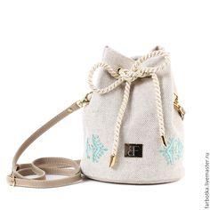 Купить 416 сумка-мешок из натурального льна - бежевый, цветочный, farbotka, сумка на плечо