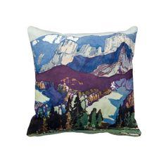 Vintage Antique Landscape Watercolor Dolomites Throw Pillow