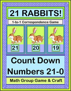 ONE-to-ONE CORRESPONDENCE with a GROUP GAME! Make cute RABBIT NUMBER CRAFTS with the Templates provided. One Rabbit at a time will go looking for a Carrot in the Garden. You'll make a 'RABBIT LINE' 21-0, while you learn a funny RHYME with a great rhythm pattern! (12 pages) Active Math from Joyful Noises Express TpT! $