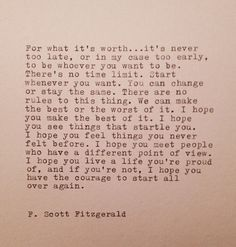 Scott Fitzgerald Hand Typed Quote Made On Typewriter great graduation words of wisdom F Scott Fitzgerald, Scott Fitzgerald Citations, Great Quotes, Quotes To Live By, Me Quotes, Inspirational Quotes, Poetry Quotes, Book Quotes, Proud Of You Quotes