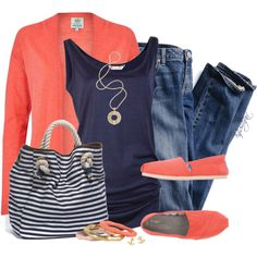 Coral is one of my all-time fav colors. And it livens up navy in a heartbeat:) Look at those fab coral TOMS too:)