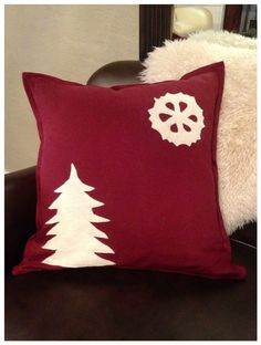Winter Holiday Christmas Pillow Cover with Tree Applique // Country Decor on Etsy, $48.00