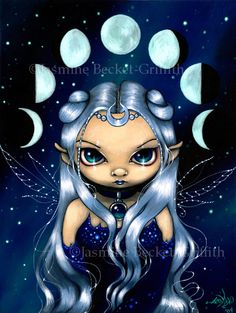 Fairy of the Changing Moons wiccan eclipse fairy art print by Jasmine Becket-Griffith12x16 BIG