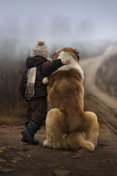 Elena Shumilova ~ Russian Mother Takes Magical Pictures of Her Two Kids With Animals On Her Farm / Elena Shumilova / Photos) Big Dogs, I Love Dogs, Puppy Love, Cute Dogs, Dogs And Puppies, Doggies, Giant Dogs, Mans Best Friend, Best Friends