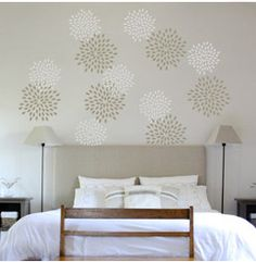 Would be great for a guest bedroom  Wall stencil Stencil painting Wall decor Wall by ModernWallClock, $18.88