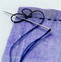When stitching by hand, use these knots to secure your thread neatly ~ Two-Loop Backstitch Knot