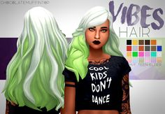 """chocolatemuffintop:  """" DOWNLOAD VIBES HAIR (DROPBOX) """"kinda halloweeny XD  """"  • maxis match  • +6 ombres  • base game  • hat compatible  • tested in game  • enabled for male and female  • custom thumbnail  •  No issues i could find message if any :)  • all..."""