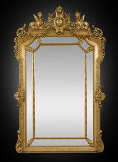 Antique Mirror, Napoleon III Mirror, Giltwood, 19th Century ~ M.S. Rau Antiques