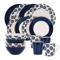 Maxwell & Williams Flower and Arrow 16 Piece Dinnerware Set, Service for 4 Square Dinnerware Set, Blue Dinnerware, Indigo Flower, Porcelain Print, Blue And White, Things To Sell, Cups, Kitchen Chairs, Dishes
