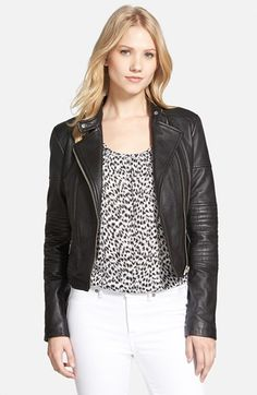 MICHAEL+Michael+Kors+Quilted+Panel+Leather+Moto+Jacket+available+at+#Nordstrom