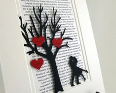 Celebrate your special occasion with this unique personalized gift in the form of paper, handcrafted and hand matted. The tree, hearts and couple are all 3D for a great shadow effect on the background. We will print your custom text in the background and hearts.  We can coordinate your wedding song, names, & date…to create an art piece to celebrate your favorite memory. Whether it is lyrics from a song, the story of your first kiss, a cherished poem, or a memorial to a lost loved one. We ...