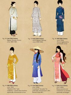 """moldy-mold: """" dyuslovethebeauties: """" Vietnamese Clothing Through The Ages … - Historical Clothing Vietnamese Clothing, Vietnamese Dress, Ethnic Fashion, Asian Fashion, Fashion Art, Tumblr Fashion, Runway Fashion, Womens Fashion, Fashion Trends"""