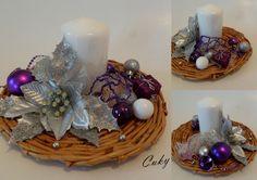 Striebornofialový svietnik, Vianočné dekorácie | Artmama.sk