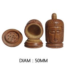 Grinder en bois en forme de Tête de Bouddha avec réservoir