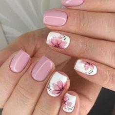 nail art designs for spring \ nail art ; nail art designs for winter ; nail art designs for spring ; Fall Nail Art Designs, Flower Nail Designs, Short Nail Designs, Cool Nail Designs, Acrylic Nail Designs, Nails With Flower Design, Toe Designs, Ongles Forts, Light Pink Nails