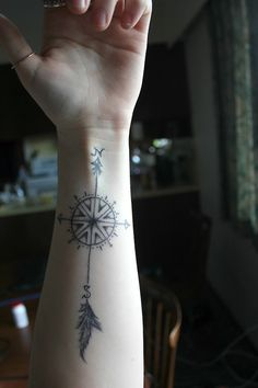 compass tattoo // would make a nice henna tattoo...