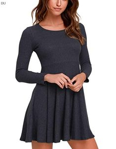 Fanfly Womens Sleeve Casual Sweater Knit Sweater Dress, Shirt Dress, Tee Shirt, Fall Fashion Trends, Autumn Fashion, Fall Dresses, Casual Dresses, Casual Sweaters, Dress Collection