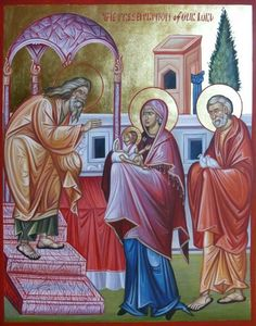 Presentation of Christ at the Temple, hand painted Icon by Georgi Chimev, Russian icon, Byzantine icon, Religious Icons, Religious Art, Greek Icons, Paint Icon, Russian Icons, Byzantine Icons, Orthodox Christianity, Catholic Art, Orthodox Icons