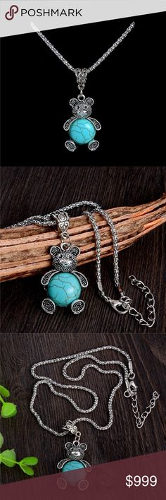 Coming Soon ! Trendy Lovely Bear Pendant Necklace Zinc Alloy Crystal Turquoise Necklace Long Sweater Chain Jewelry Necklaces