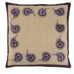 Peacock Feather Border 18 in. Square Natural Burlap Pillow