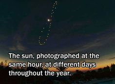 The sun, photographed at the same hour,at different days throughout the year...