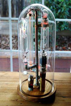 Mad Science Laboratory, Steampunk, lamp, light, lab glass, vintage, vacuum tubes
