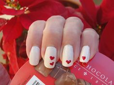 White nails with red