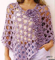 Crochet open weave cape poncho