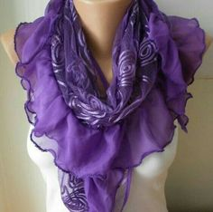 ON SALE - Purple Shawl Scarf - Cowl Scarf Lace Scarf fatwoman bridesmaid gifts Purple Love, Purple Lilac, All Things Purple, Shades Of Purple, Deep Purple, Purple Stuff, Mauve, Cowl Scarf, Lace Scarf