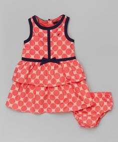 Look what I found on #zulily! Melon Polka Dot Tiered Dress - Infant, Toddler & Girls by Nautica #zulilyfinds